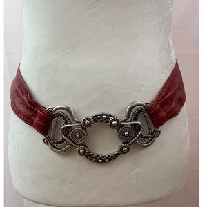 Chico's Belt Leather Stretch Red Silver Embossed